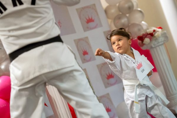 Little girl does karate.