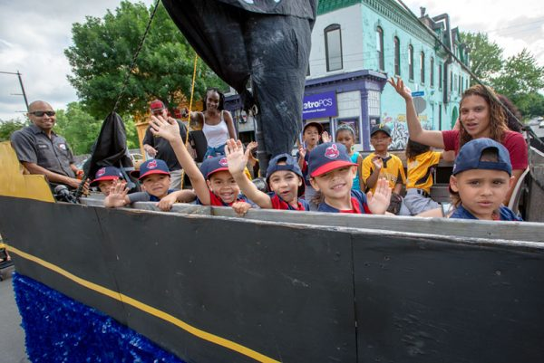Kids ride in parade float