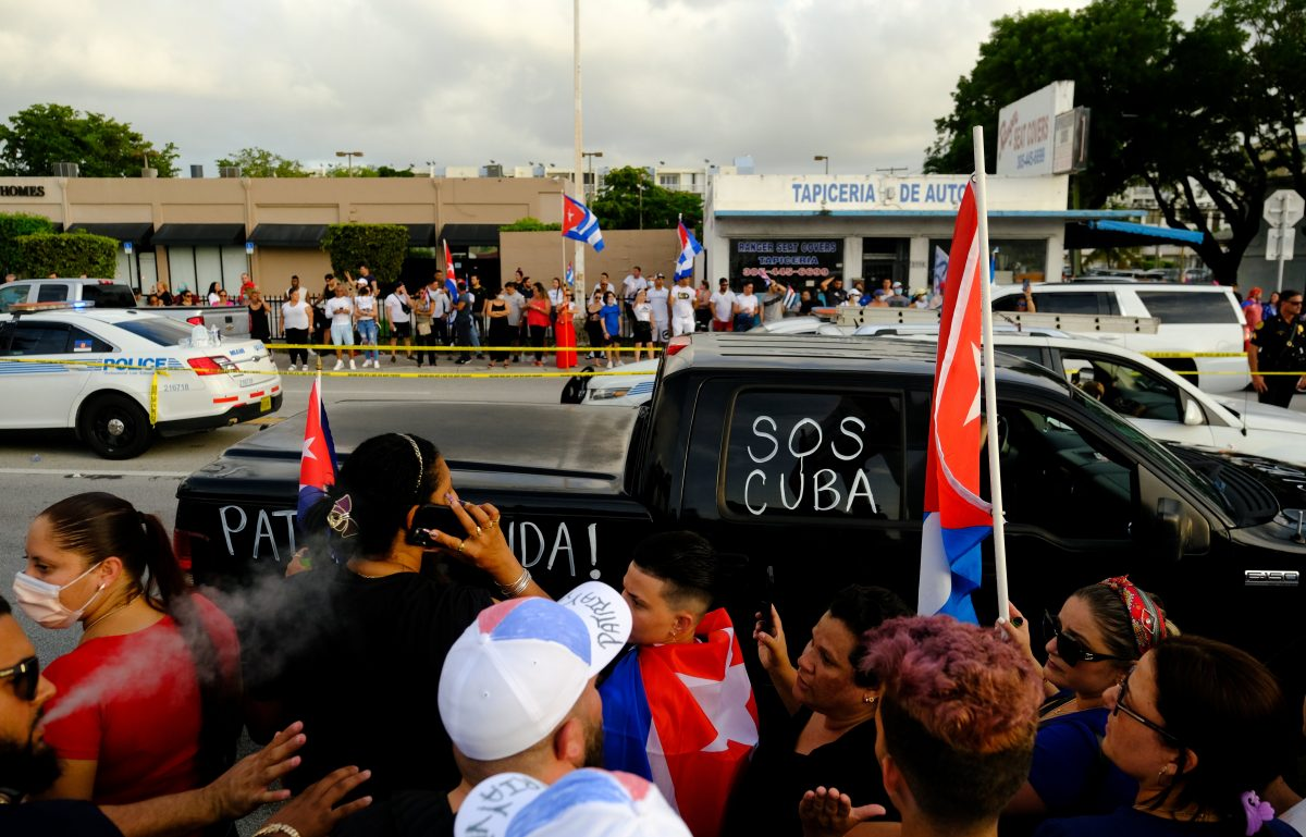 People in the Little Havana neighborhood of Miami rally in solidarity with protesters in Cuba July 12, 2021. (CNS photo/Maria Alejandra Cardona, Reuters)