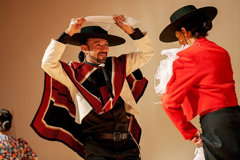 Javier Concha performs with the Chile Lindo dance group.